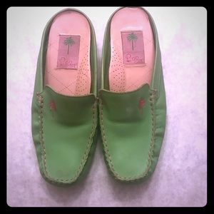 Lilly Pulitzer green moccasin slip on shoes 6.5M